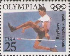 25-cent U.S. postage stamp picturing Ray Ewry