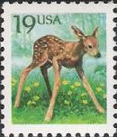 19-cent U.S. postage stamp picturing fawn
