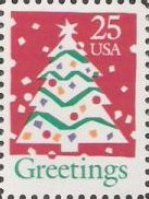 25-cent U.S. postage stamp picturing Christmas tree