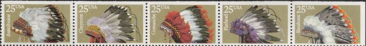 Strip of five 25-cent U.S. postage stamps picturing Native American headdresses