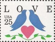 25-cent U.S. postage stamp picturing birds and heart