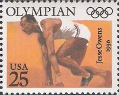 25-cent U.S. postage stamp picturing Jesse Owens