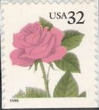 32-cent U.S. postage stamp picturing pink rose