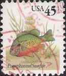 45-cent U.S. postage stamp picturing pumpkinseed sunfish
