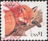 $1 U.S. postage stamp picturing red fox