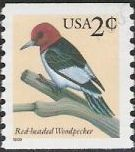 2-cent U.S. postage stamp picturing red-headed woodpecker