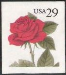 29-cent U.S. postage stamp picturing red rose