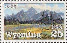 25-cent u.S. postage stamp picturing Grand Tetons