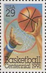 29-cent U.S. postage stamp picturing basketball, hoop, and hands
