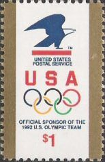 $1 U.S. postage stamp picturing USPS logo and Olympic rings