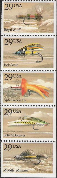 Booklet pane of five 29-cent U.S. postage stamps picturing fishing flies