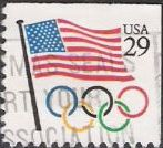 29-cent U.S. postage stamp picturing American flag and Olympic rings