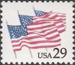 29-cent U.S. postage stamp picturing three American flags
