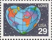 29-cent U.S. postage stamp picturing heart-shaped Earth