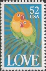 52-cent U.S. postage stamp picturing two parrots