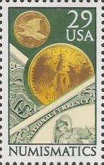 29-cent U.S. postage stamp picturing coins and banknotes