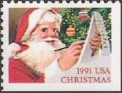 Non-denominated 29-cent U.S. postage stamp picturing Santa Claus with list