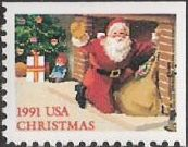 Non-denominated 29-cent U.S. postage stamp picturing Santa Claus at fireplace