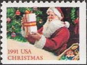 Non-denominated 29-cent U.S. postage stamp picturing Santa Claus and presents
