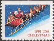 Non-denominated 29-cent U.S. postage stamp picturing Santa Claus in sleigh
