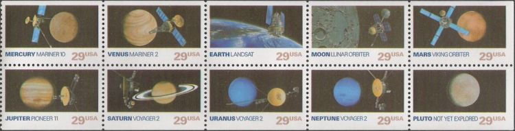 Booklet pane of 10 29-cent U.S. postage stamps picturing spacecraft and planets