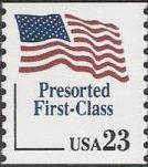 Blue & red 23-cent U.S. postage stamp picturing American flag