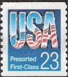 23-cent U.S. postage stamp bearing letters 'USA' formed from American flag and sky