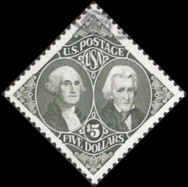 Gray $5 U.S. postage stamp picturing George Washington and Andrew Jackson