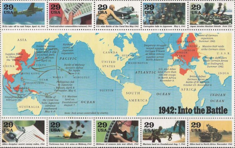 Sheet of 10 29-cent U.S. postage stamps commemorating World War II events