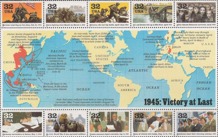 Sheet of 10 32-cent U.S. postage stamps commemorating World War II events