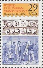 29-cent U.S. postage stamp picturing part of 15-cent U.S. postage stamp picturing Christopher Columbus landing