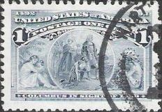 Blue 1-cent U.S. postage stamp picturing Christopher Columbus in sight of land
