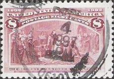 Magenta 8-cent U.S. postage stamp picturing Christopher Columbus being restored to favor