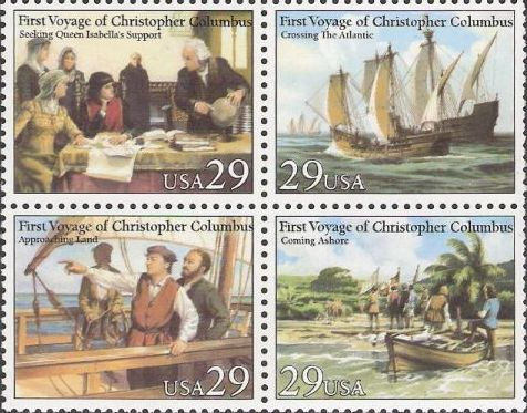 Block of four 29-cent U.S. postage stamps picturing scenes from Christopher Columbus' first voyage