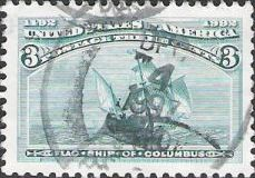 Green 3-cent U.S. postage stamp picturing flag ship of Christopher Columbus