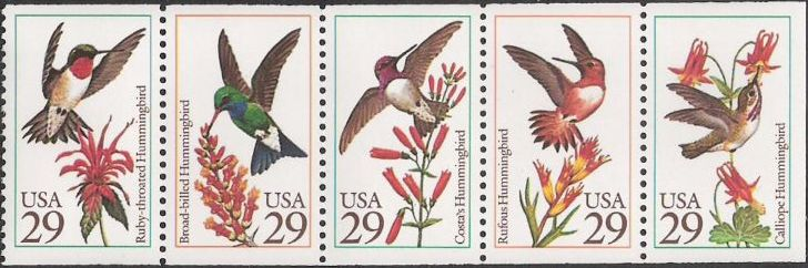 Booklet pane of five 29-cent U.S. postage stamps picturing hummingbirds