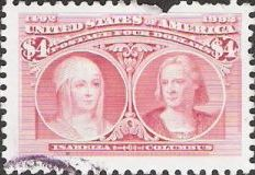 Pink $4 U.S. postage stamp picturing Queen Isabella and Christopher Columbus