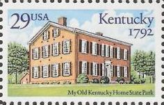 29-cent U.S. postage stamp picturing building at My Old Kentucky Home State Park