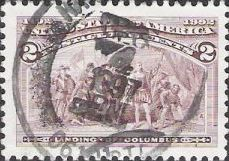 Brown violet 2-cent U.S. postage stamp picturing landing of Christopher Columbus
