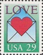 29-cent U.S. postage stamp picturing heart in envelope