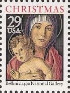 29-cent U.S. postage stamp picturing Bellini's Madonna and child painting