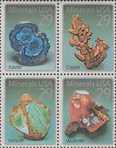 Block of four 29-cent U.S. postage stamps picturing minerals