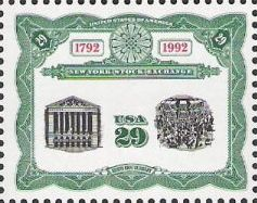 29-cent U.S. postage stamp picturing scnes from New York Stock Exchange