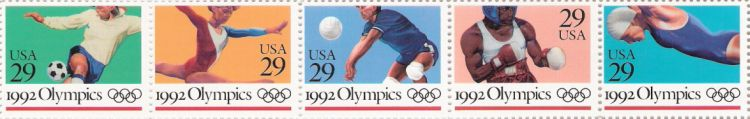 Strip of five 29-cent U.S. postage stamps picturing Summer Olympians