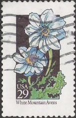 29-cent U.S. postage stamp picturing white mountain avens