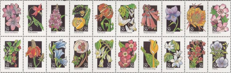 Block of 20 29-cent U.S. postage stamps picturing wildflowers