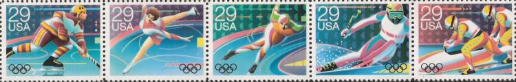 Strip of five 29-cent U.S. postage stamps picturing Winter Olympians