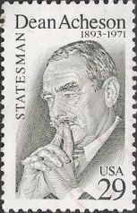 Gray green 29-cent U.S. postage stamp picturing Dean Acheson