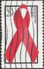 Red & black 29-cent U.S. postage stamp picturing red ribbon