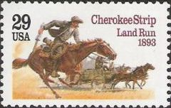 29-cent U.S. postage stamp picturing settlers with horses and carriages